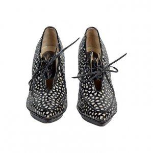 נעלי עקב שחור לבן עור 2