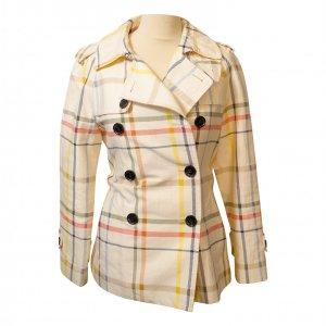 מעיל טרנץ׳ קצר לבן עם משבצות צבעוניות 4