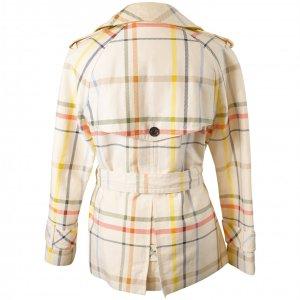 מעיל טרנץ׳ קצר לבן עם משבצות צבעוניות 2