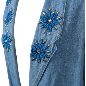 ג'קט ג'ינס מחויט עם פרחים רקומים 4