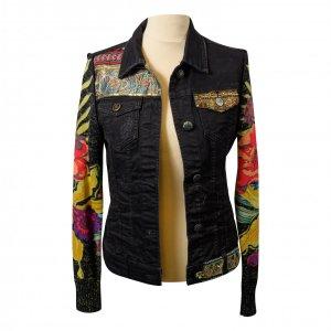 ג׳קט ג׳ינס שחור שרווליי סריג צבעוני 2