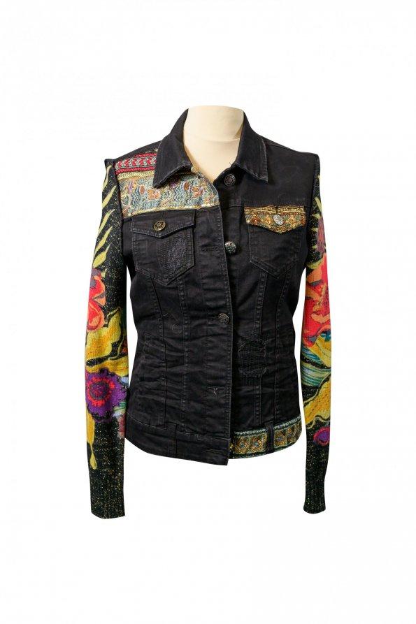 ג׳קט ג׳ינס שחור שרווליי סריג צבעוני 1