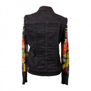 ג׳קט ג׳ינס שחור שרווליי סריג צבעוני 4