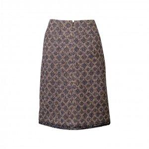 חצאית סרוגה מעויינית כחול לבן כסף עם פייטים בתחתית 2