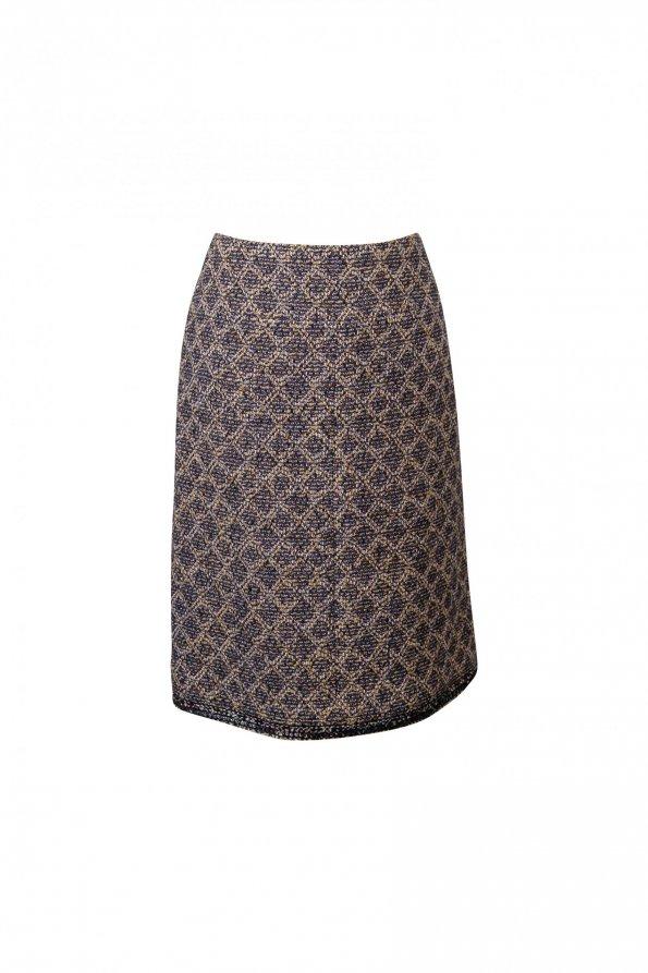 חצאית סרוגה מעויינית כחול לבן כסף עם פייטים בתחתית 1