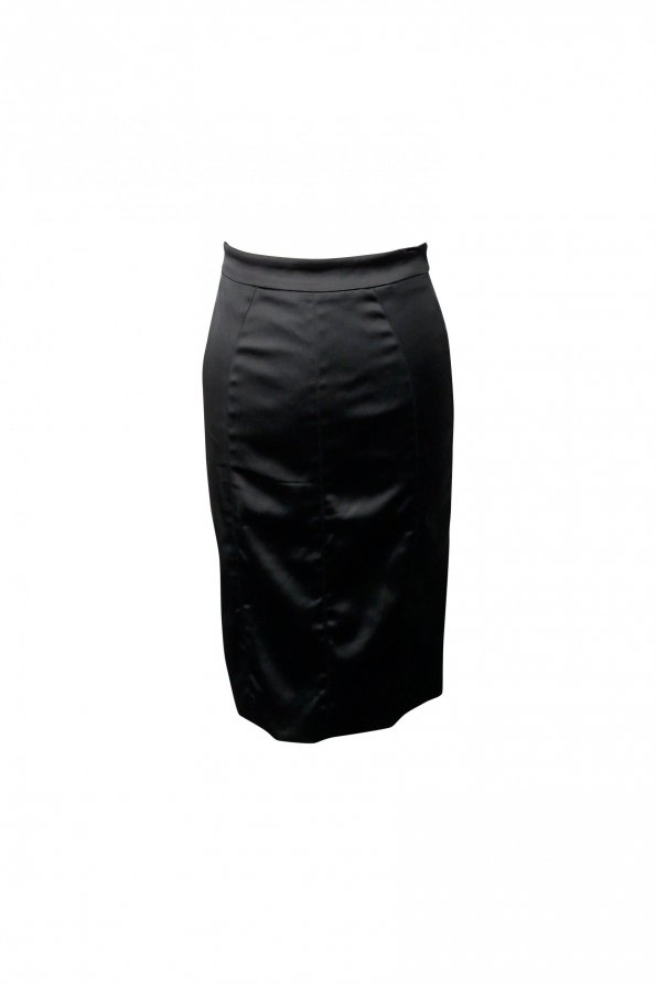 חצאית מידי סאטן שחור מבריק 1