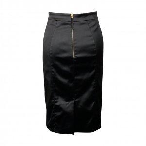 חצאית מידי סאטן שחור מבריק 2