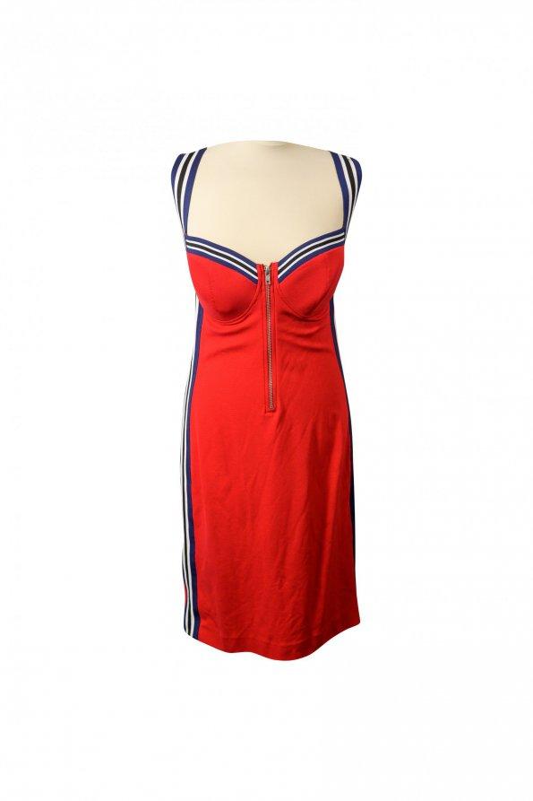 שמלה צמודה אדומה שרוולים כחול שחור 1