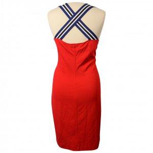 שמלה צמודה אדומה שרוולים כחול שחור 2