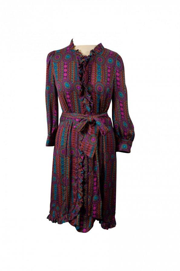 שמלה שרוול ארוך עם דוגמה של שרשראות סגולות 1