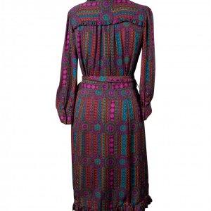 שמלה שרוול ארוך עם דוגמה של שרשראות סגולות 2