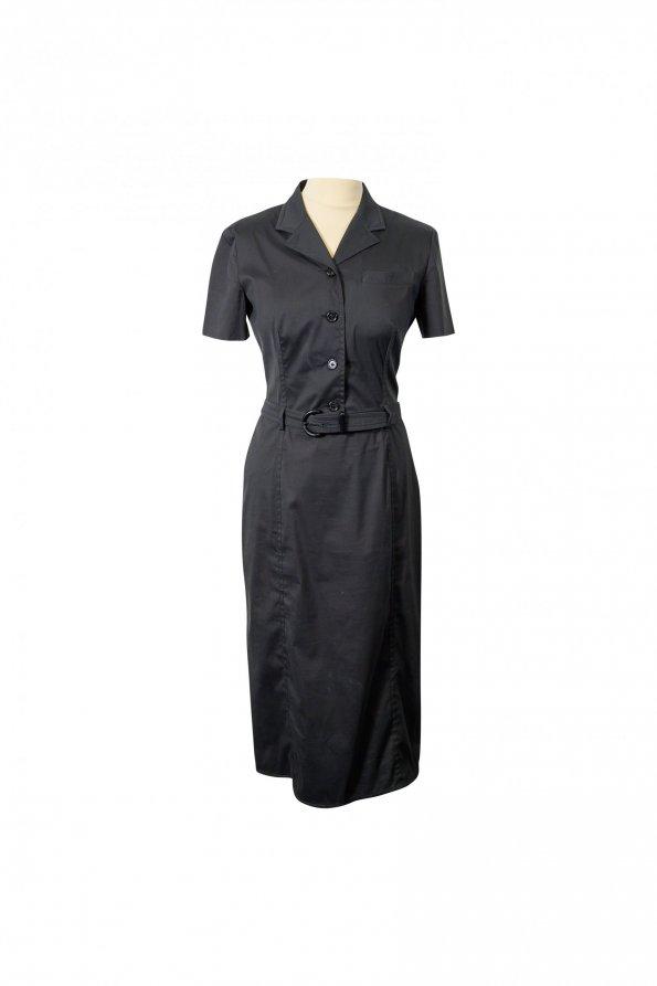 שמלת מידי מחויטת שרוול קצר שחורה 1