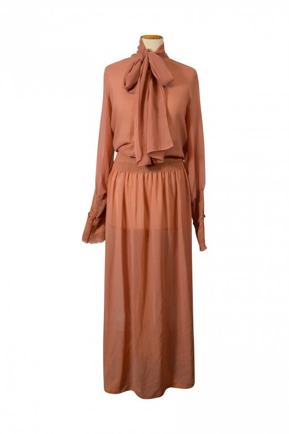 שמלת מקסי ארוכה שיפון חום חמרה שקופה 1