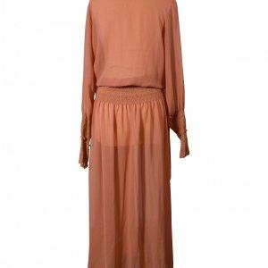שמלת מקסי ארוכה שיפון חום חמרה שקופה 2