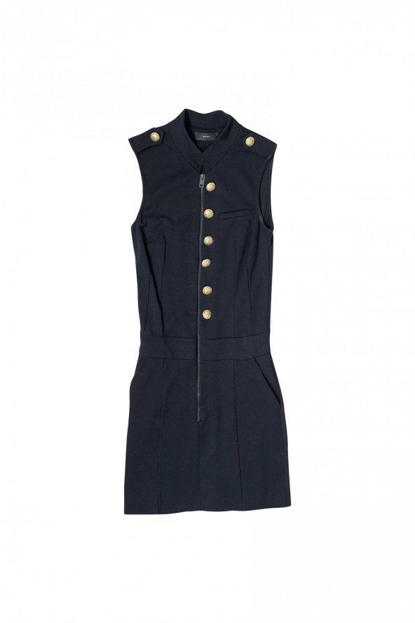 שמלה שחורה ריצרץ כפתורי זהב 1