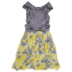 שמלת משי אפורה עם פרחים צהובים 2