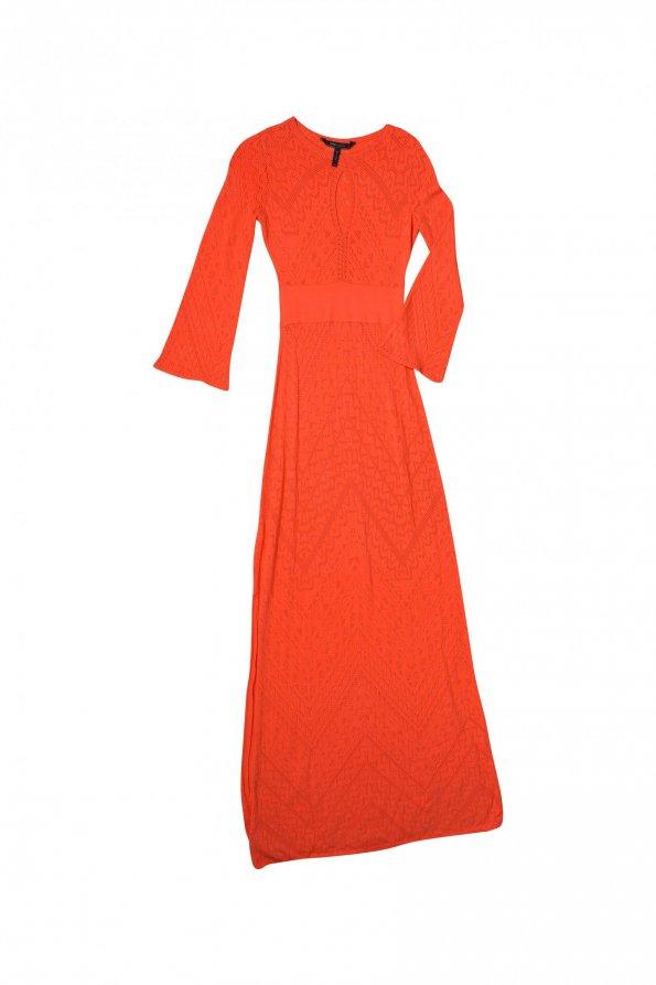 שמלת סריג כתום אדום מקסי 1
