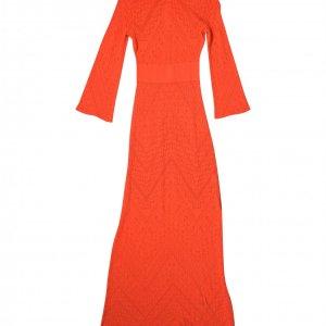 שמלת סריג כתום אדום מקסי 2