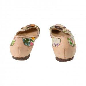 נעלי בובה בז׳ פרחוני עם במבוק 5