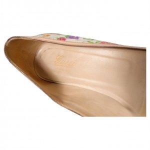 נעלי בובה בז׳ פרחוני עם במבוק 3