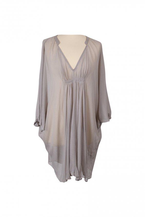 שמלה סגולה אפורה שיפון דוגמת עטלף 1