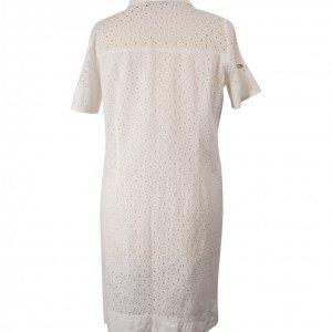 שמלה קצרה לבנה עם דוג תחרה וחורים כפתורי כסף 2