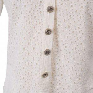 שמלה קצרה לבנה עם דוג תחרה וחורים כפתורי כסף 4