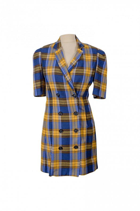 שמלת משבצות כחול צהוב 1