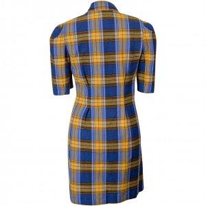 שמלת משבצות כחול צהוב 2