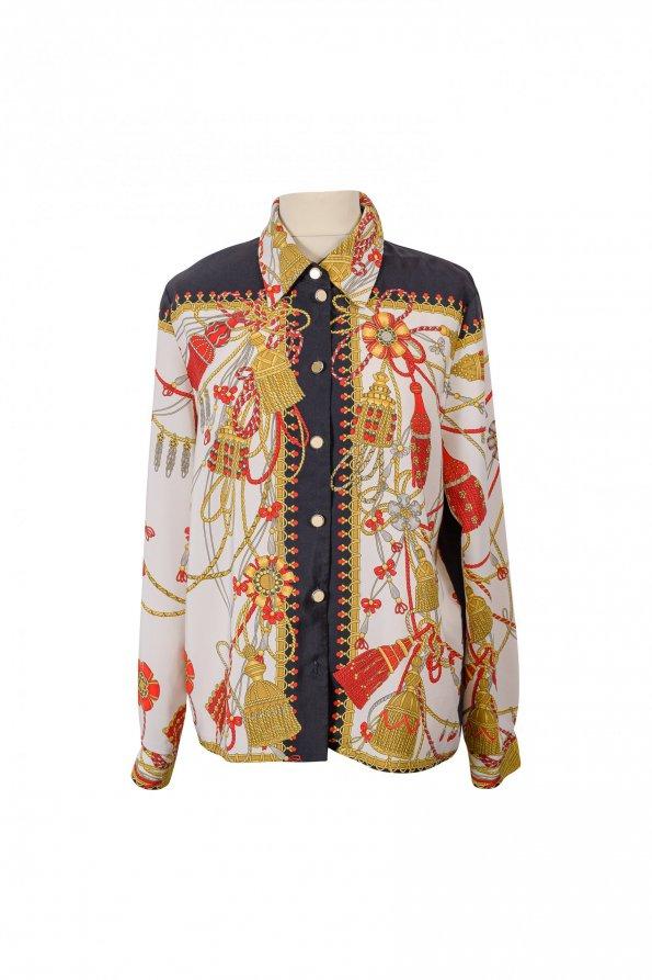 חולצה מכופתרת שמנת עם הדפס עיטורים זהב כחול אדום 1
