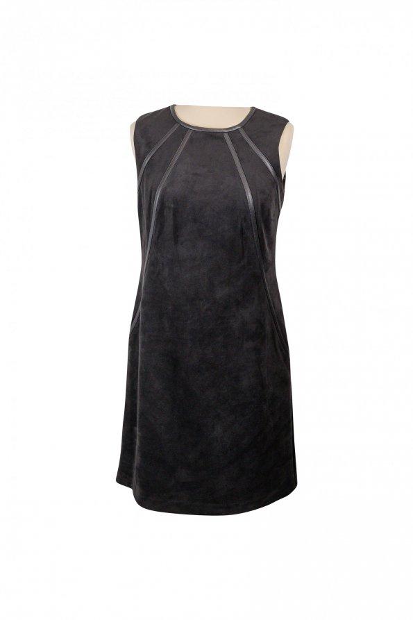 שמלה שחורה זמס עם פסי עור שחורים 1