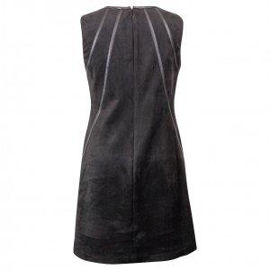 שמלה שחורה זמס עם פסי עור שחורים 2