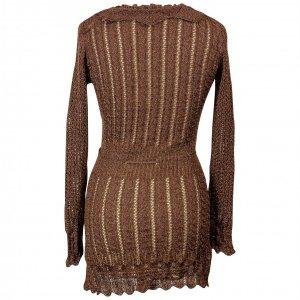 שמלת סריג חומה עם זהב  צווארון וקשירה 2