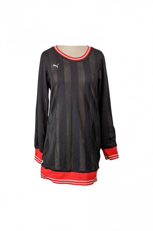שמלה שחורה רשת עם פס אדום 1