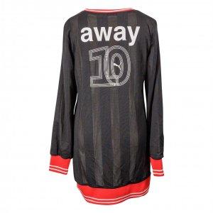 שמלה שחורה רשת עם פס אדום 2