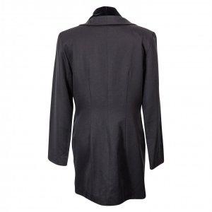 ג׳קט מחוייט שחור מתארך בגב משולב עם קטיפה וכפתורי כסף 2