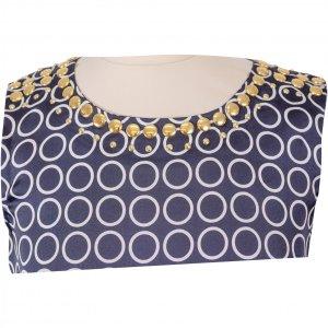 שמלה כחולה עיגולים לבנים ניטים זהב 4