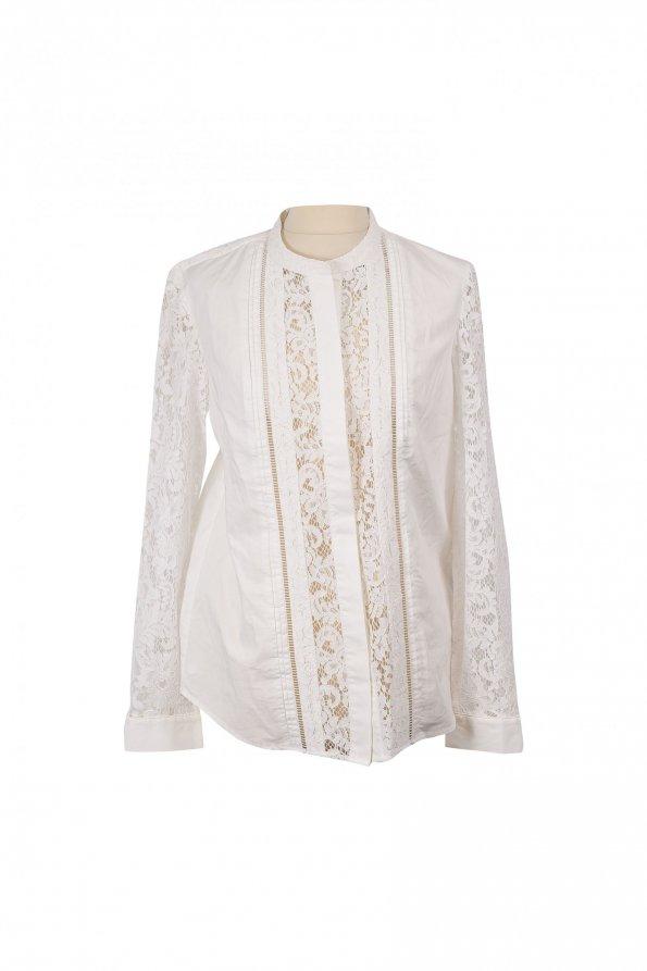 חולצה לבנה תחרה מכופתרת 1