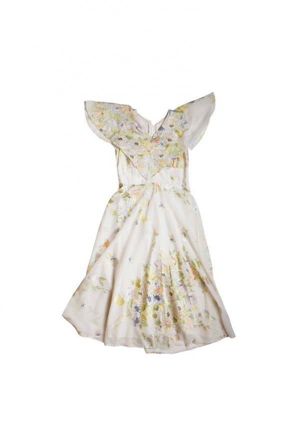 שמלת מקסי לבנה שמנת שיפון פרחונית 1
