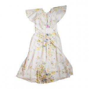 שמלת מקסי לבנה שמנת שיפון פרחונית 2