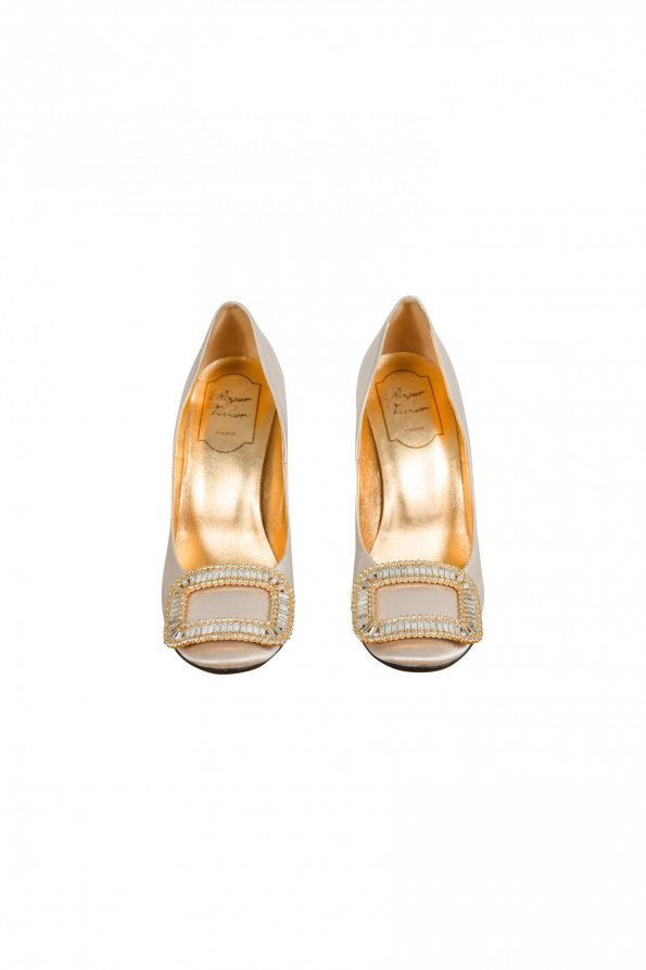 נעלי עקב פנינה עם ריבוע יהלומים 1