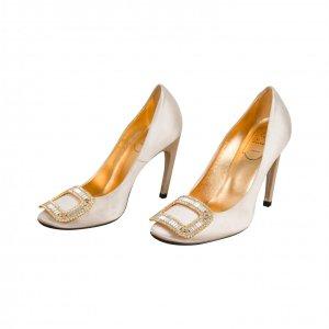 נעלי עקב פנינה עם ריבוע יהלומים 2