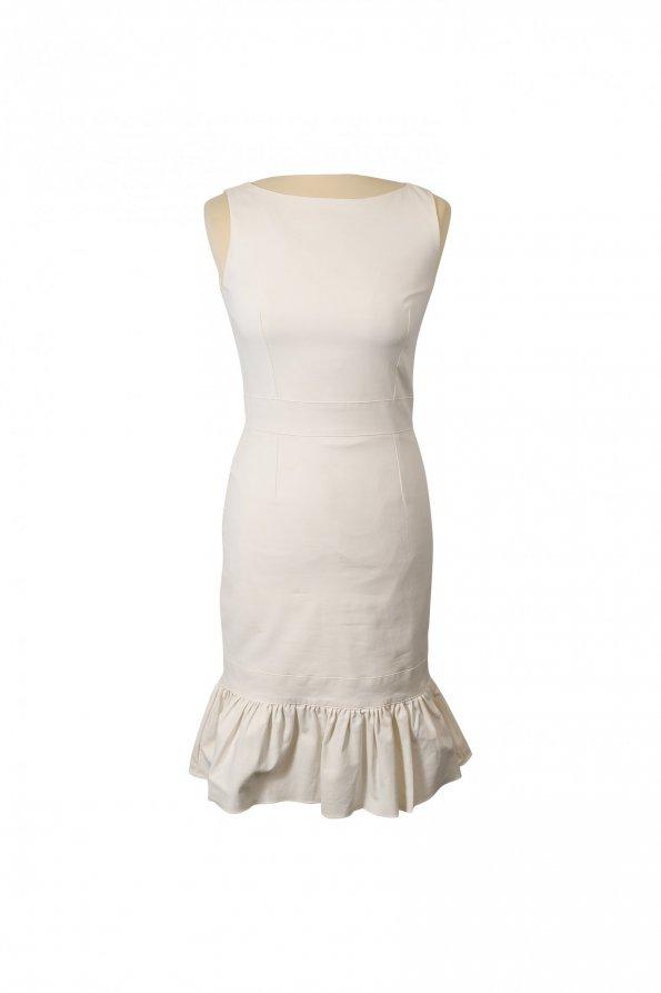 שמלה לבנה ללא שרוול עם מלמלה בתחתית 1