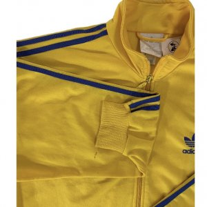 ז'קט ספורט צהוב וינטג לגבר פסים כחולים 5
