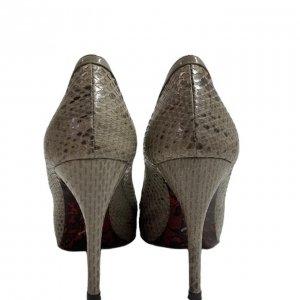 נעלי עקב עור נחש אפור עם פתח אצבע ופפיון 3