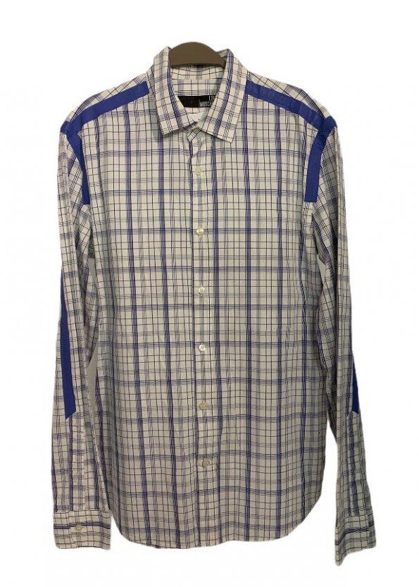 חולצה מכופתרת משבצות לבן כחול 1