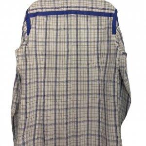 חולצה מכופתרת משבצות לבן כחול 2