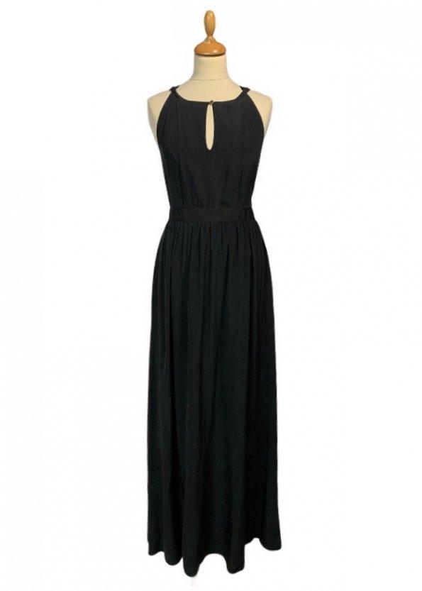שמלת משי שחורה מקסי 1