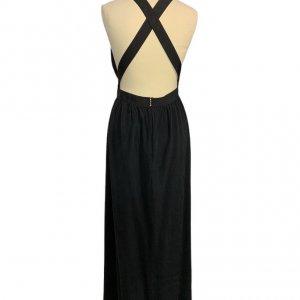 שמלת משי שחורה מקסי 2