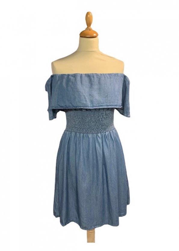 שמלה כתפיים שמוטות מבד ג׳ינס דק 1